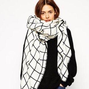 ASOS White Grid Blanket Scarf